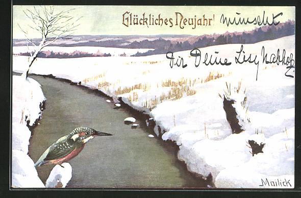 Künstler-AK Alfred Mailick: Vogel im Schnee, Neujahrsgruss