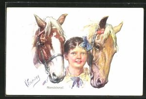 Künstler-AK Karl Feiertag: Marschbereit, Mädchen mit zwei Pferden