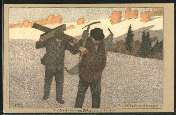 Künstler-Lithographie Paul Hey: Arbeiter mit Werkzeug in der Wintersonne