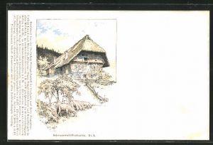 Künstler-AK Fritz Reiss: Schwarzwald, Schafherde vor dem Haus