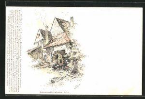 Künstler-AK Fritz Reiss: Schwarzwald, Mühlrad am Haus