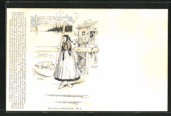 Künstler-AK Fritz Reiss: Frau in Schwarzwald-Tracht vor dem Haus