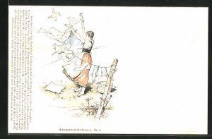 Künstler-AK Fritz Reiss: Schwarzwaldmädchen hängt Wäsche an die Leine