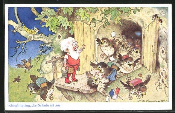 Künstler-AK Fritz Baumgarten: Klinglingling, die Schule ist aus, Die Vögel laufen aus der Schule am Zwerg vorbei