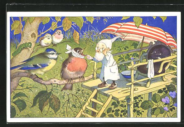 Künstler-AK Fritz Baumgarten: Zwerg verarztet einen Vogel