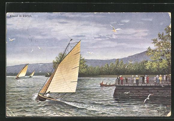 Künstler-AK Arthur Thiele: Zürich, Ortspartie mit Booten