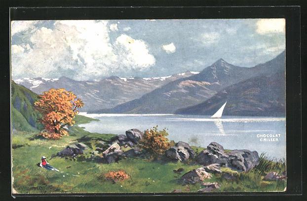 Künstler-AK August Splitgerber: Chocolat Cailler, Landschaft mit Bergen am See
