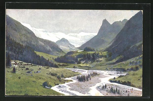 Künstler-AK August Splitgerber: Chocolat Cailler, Landschaft mit Bergen