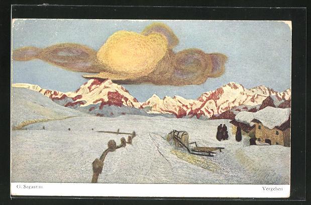 Künstler-AK Giovanni Segantini: Vergehen, Landschaft mit Bergen im Winter