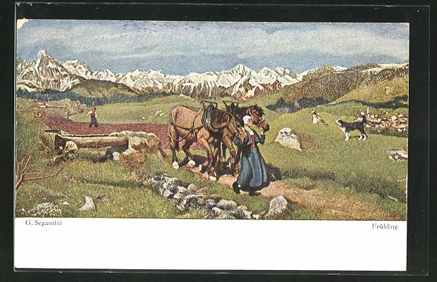Künstler-AK Giovanni Segantini: Frühling, Frau mit einem Pferd vor den Bergen