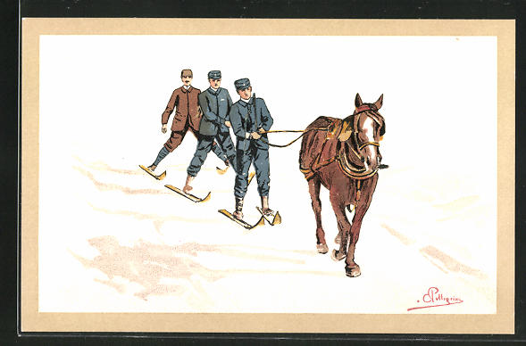 Künstler-AK Carlo Pellegrini: Männer auf Ski, werden von einem Pferd durch den Schnee gezogen