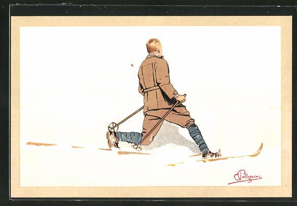 Künstler-AK Carlo Pellegrini: Mann fährt auf Ski durch den Schnee