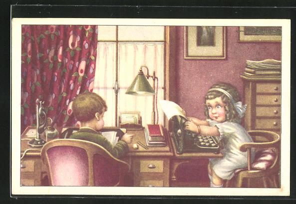 Künstler-AK A. Bertiglia: Mädchen sitzt an der Schreibmaschine und tippt einen Brief