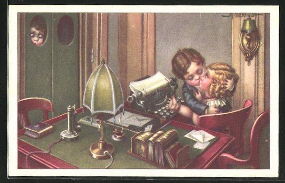 Künstler-AK A. Bertiglia: Mädchen an der Schreibmaschine bekommt einen Kuss