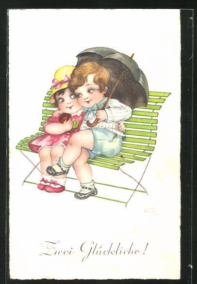 Künstler-AK Hannes Petersen: Kinder unterm Schirm auf einer Bank sitzend
