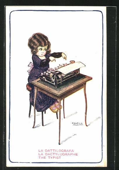 Künstler-AK A. Bertiglia: Kleine Stenotypisten an der Schreibmaschine