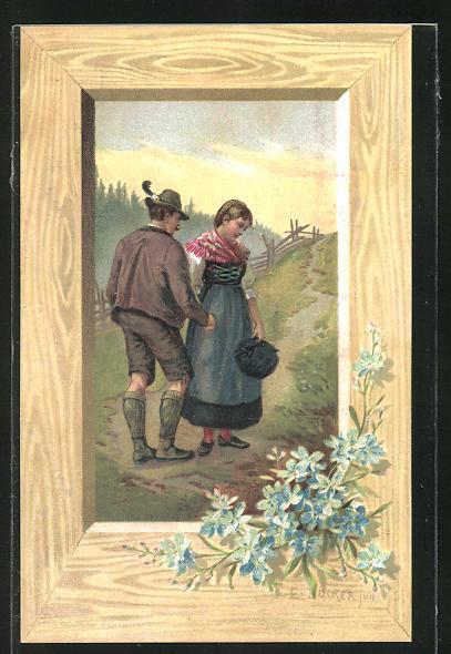 Künstler-Lithographie E. Döcker: Grüss Gott - Pfüat Gott, Abschiedsszene