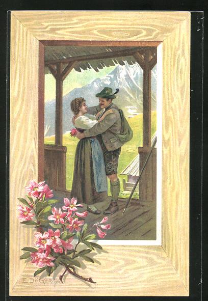 Künstler-Lithographie E. Döcker: Grüss Gott - Pfüat Gott, Paar bei Umarmung