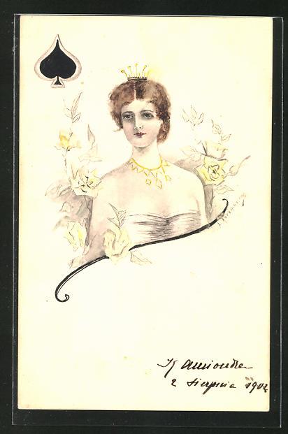 Künstler-AK Handgemalt: Pik-Dame umgeben von Blütenranken - Kartenspiel