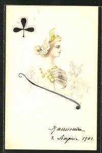 Künstler-AK Handgemalt: Kreuz-Dame mit Krone - Kartenspiel