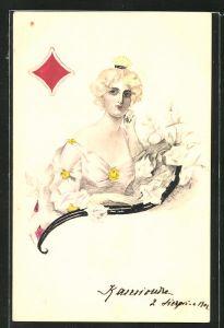 Künstler-AK Handgemalt: Karo-Dame mit blondem Haar - Kartenspiel