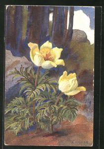 Künstler-AK Anna Haller: Blühende Blumen am Waldrand