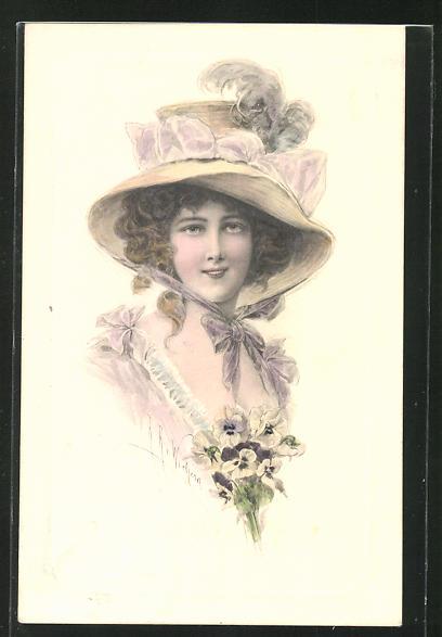 Künstler-AK Wichera: Lächelnde Frau mit elegantem Hut