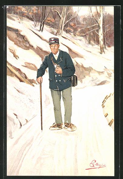 Künstler-AK Carlo Pellegrini: Briefträger auf einem verschneiten Bergweg