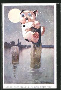 Künstler-AK George Ernest Studdy: Bonzo verängstigt auf einem Pfosten im Wasser sitzend