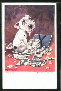 Künstler-AK George Ernest Studdy: Bonzo zwischen zerfetzten Geldnoten mit Engelsgesicht