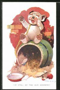 Künstler-AK George Ernest Studdy: Bonzo sitzt freudig auf seiner Hütte