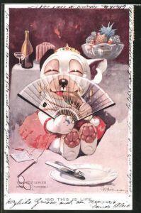 Künstler-AK George Ernest Studdy: Bonzo im Kleidchen mit Fächer