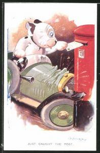Künstler-AK George Ernest Studdy: Bonzo baut einen Autounfall mit dem Briefkasten