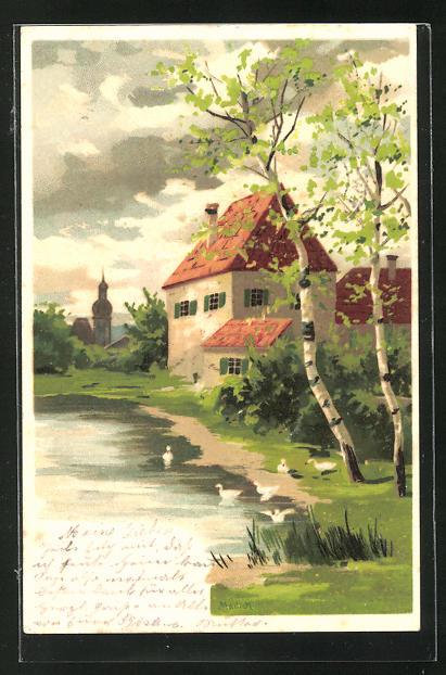 Künstler-AK Alfred Mailick: Birkenumstandes Haus am kleinen Weiher