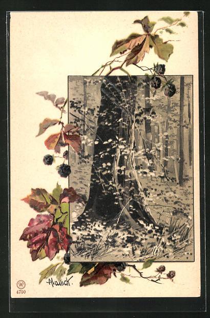 Künstler-AK Alfred Mailick: Partie aus einem Laubwald, Bläter und Früchte