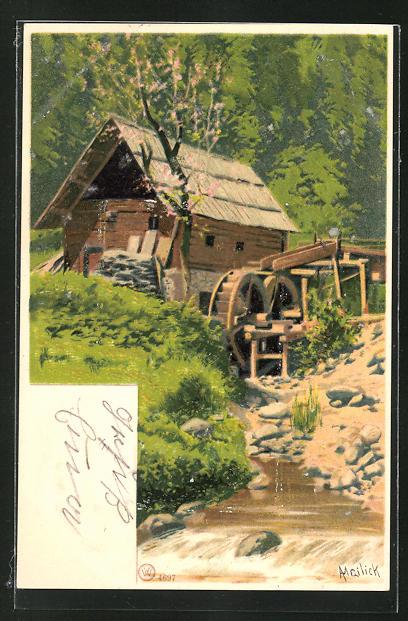 Künstler-AK Alfred Mailick: Blick auf eine Wassermühle