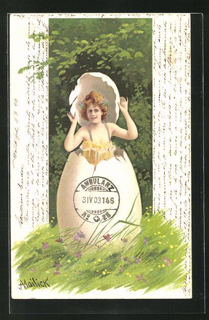 Künstler-AK Alfred Mailick: Junge Frau springt aus einem Ei