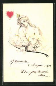 Künstler-AK Handgemalt: Herz-Dame mit träumenden Blick - Kartenspiel