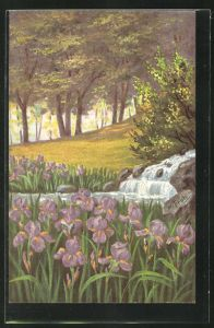 Künstler-AK sign. W. Früh: Landschaft mit Wasserfall