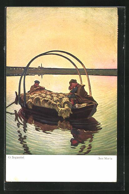 Künstler-AK Giovanni Segantini: Ave Maria, Schäfer mit Herde in Boot