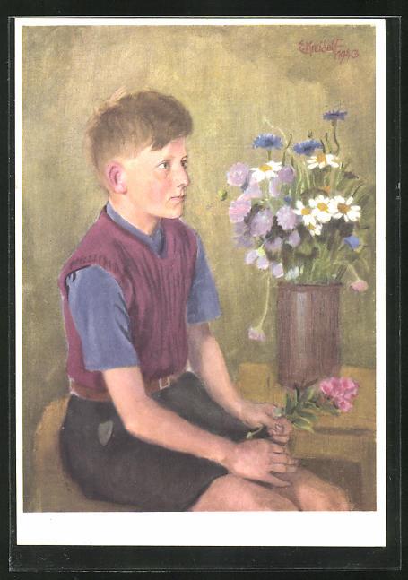 Künstler-AK Ernst Kreidolf: Schweizerbub, Knabe und Blumenvase