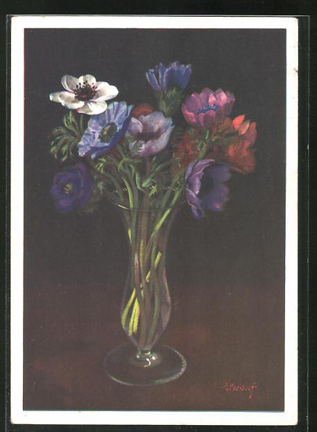 Künstler-AK Ernst Kreidolf: Anemonen, Blumenvase