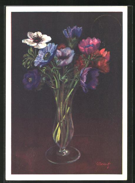 Künstler-AK Ernst Kreidolf: Anemonen, Blumen in Vase