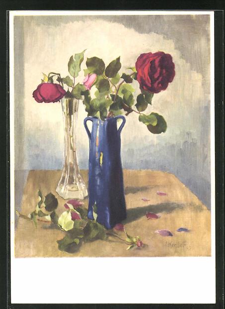 Künstler-AK Ernst Kreidolf: Rose, Stilleben