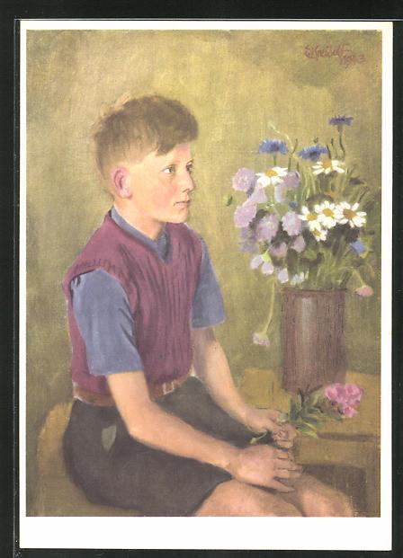 Künstler-AK Ernst Kreidolf: Schweizerbub, Portrait mit Blumen