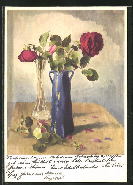 Künstler-AK Ernst Kreidolf: Rose, Stilleben, Bulmen in Vase