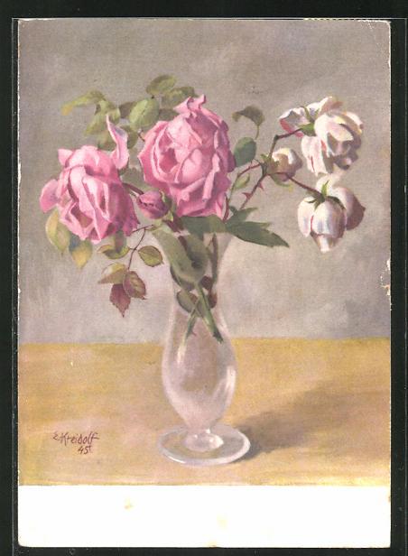Künstler-AK Ernst Kreidolf: Rosen, Stilleben mit Glasvase