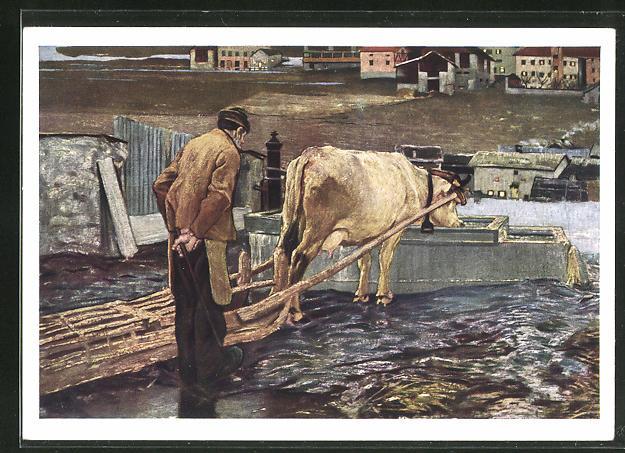 Künstler-AK Giovanni Segantini: Die Schneeschmelze, Bauer mit Rindergespann