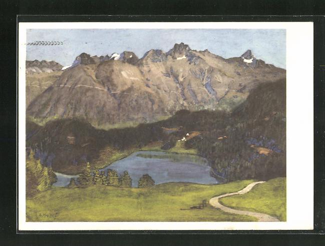 Künstler-AK Ernst Kreidolf: St. Moritzersee, Panorama