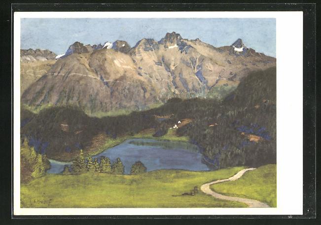 Künstler-AK Ernst Kreidolf: St. Moritzersee, Landschaftsbild